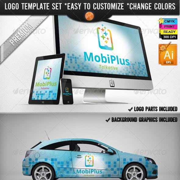 Cellular Phone Application Mobile Plus Logo Design