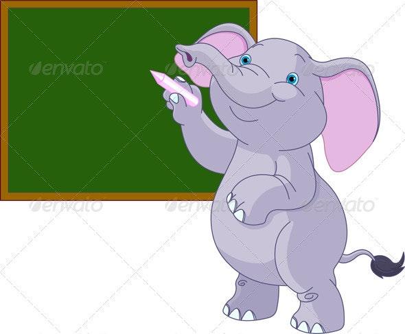 Elephant writing on blackboard - Animals Characters