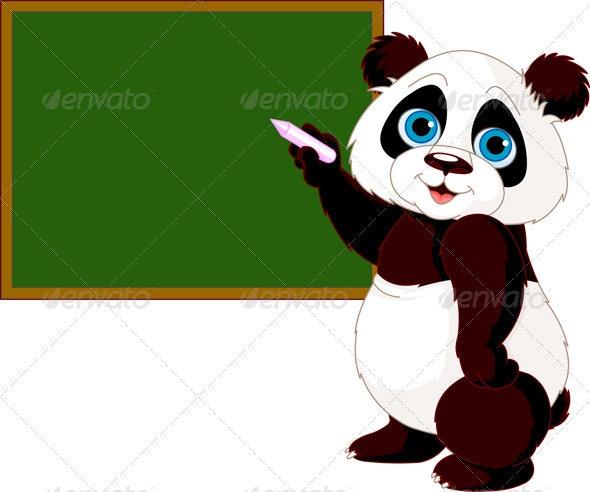 Panda writing on blackboard - Animals Characters