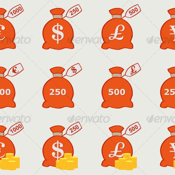 Vector Money Bags with Currency Symbols