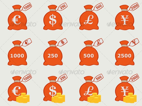 Vector Money Bags with Currency Symbols - Business Conceptual
