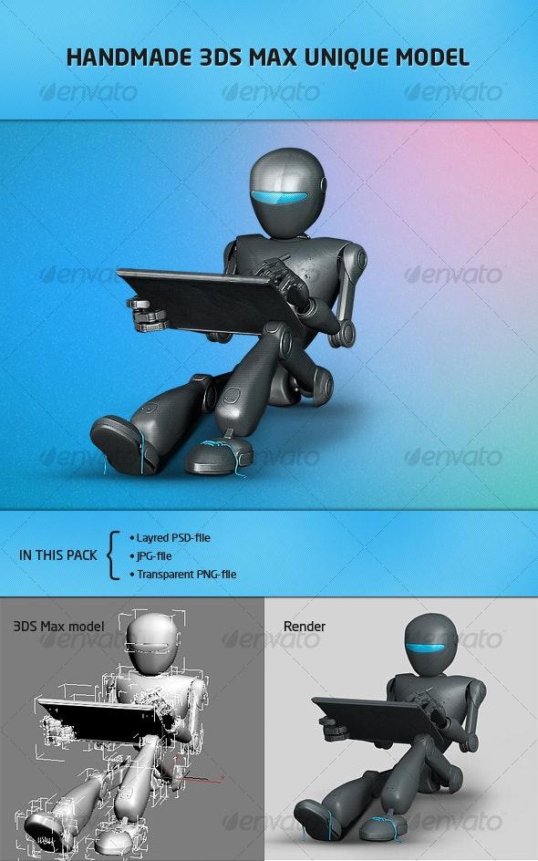 Futuristic robot for website-portfolio - Characters Illustrations