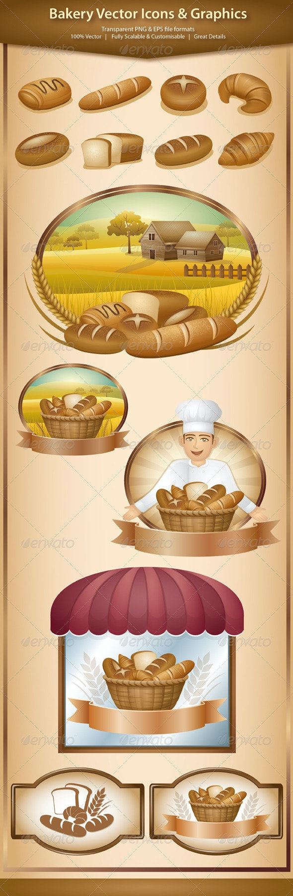 Bakery Vector Icons And Graphics - Food Objects