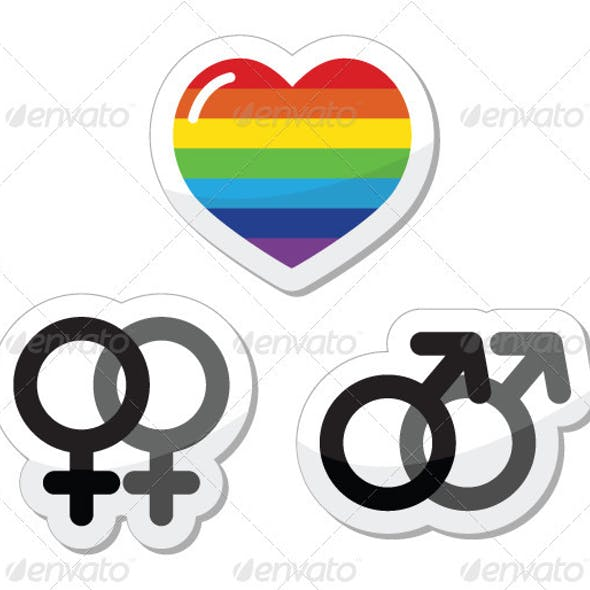 Rainbow heart, male and female symbols