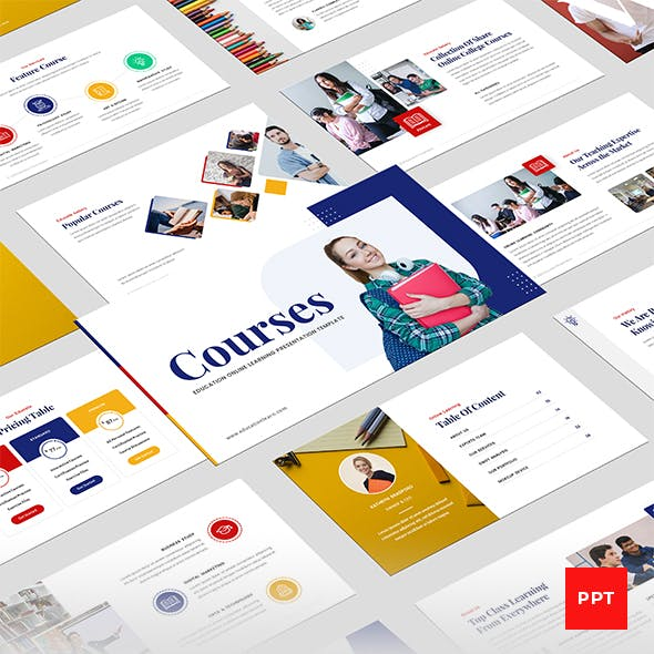 Online Courses - Education & Learning PowerPoint Presentation Template