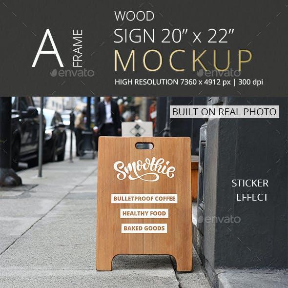 Wood A-Frame Sign Mockup