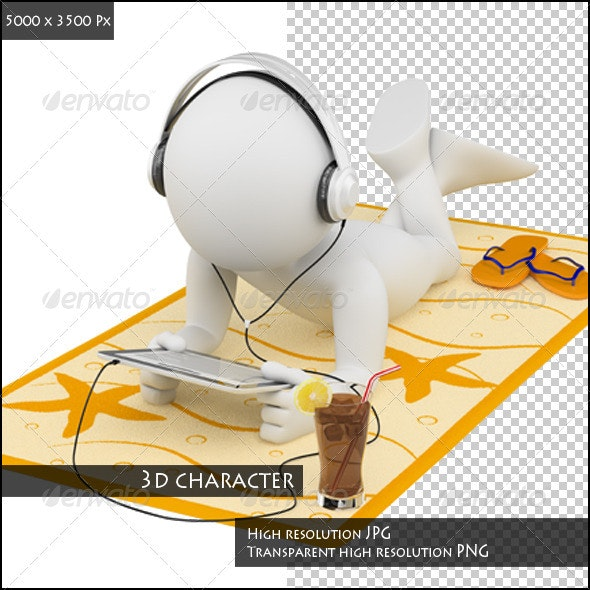 3D White People. Summer Day - Characters 3D Renders