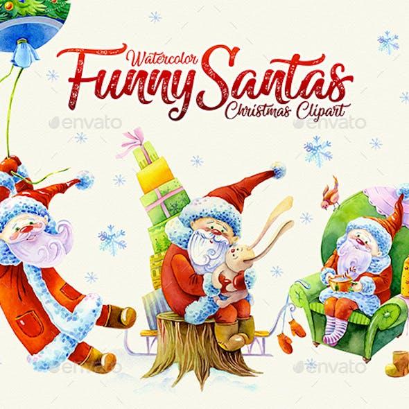 Funny Santas Watercolor Clipart Transparent 1200dpi