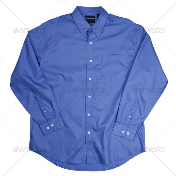 Blue Long Sleeve Shirt - Clothes & Accessories Isolated Objects