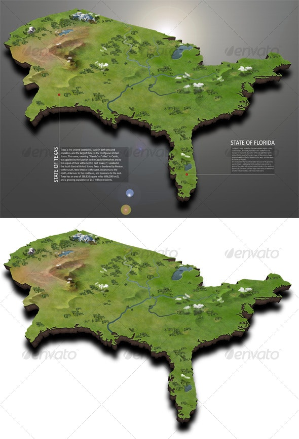USA Map - Scenes Illustrations
