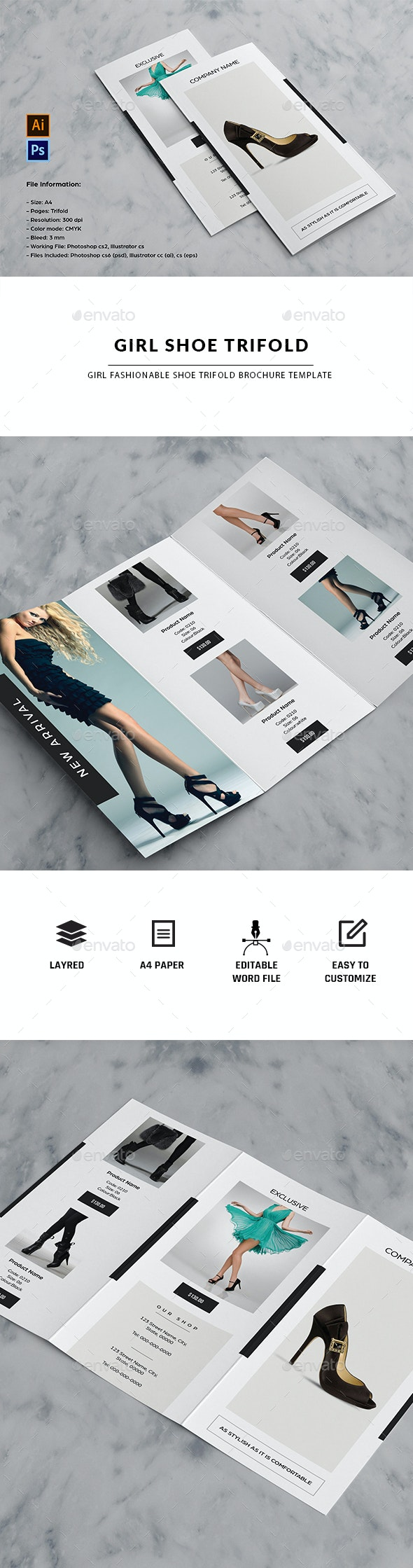 Fashion Product Trifold Brochure - Brochures Print Templates