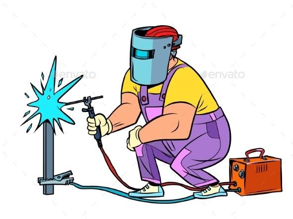 Welder Worker Welds the Material Construction - Industries Business