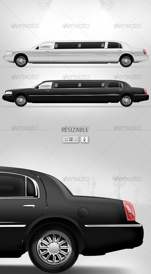The long car ( Blach and White ) - Conceptual Vectors