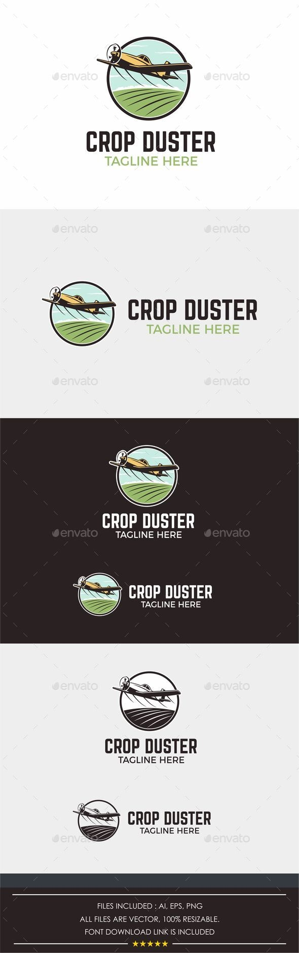 Logo Design for Agricultural Farming Aerial Spray - Crop Duster - Nature Logo Templates