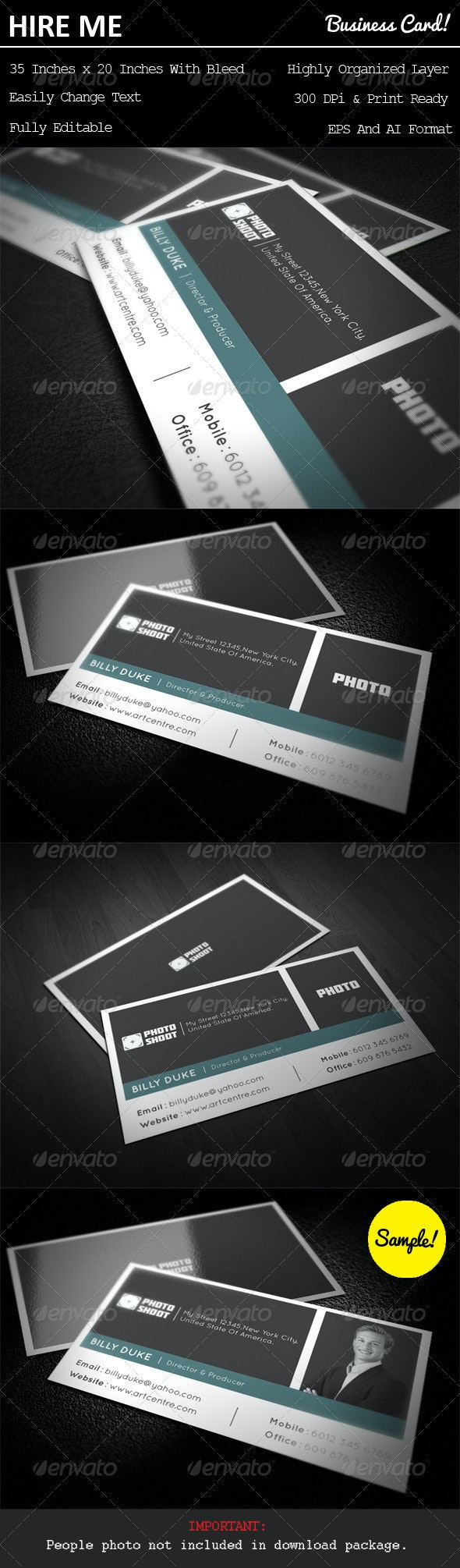 Photo Shoot Business Card - Industry Specific Business Cards