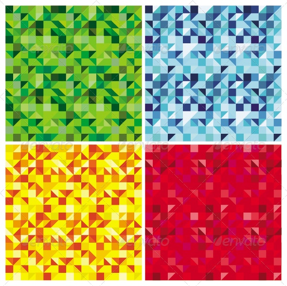 Set of Triangle Abstract Seamless Patterns - Patterns Decorative