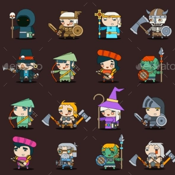 Fantasy RPG Game Heroes Villains Minions Character