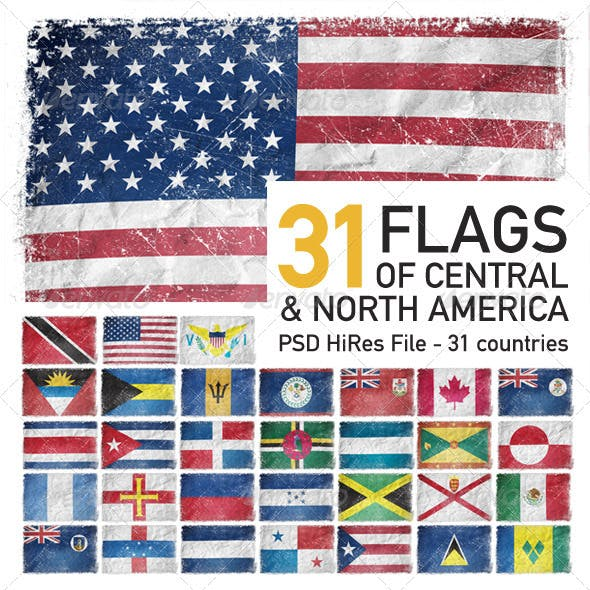 Central & North America Flags (31 Countries)