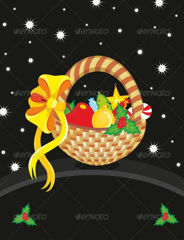 Basket Christmas Toy Card - Christmas Seasons/Holidays