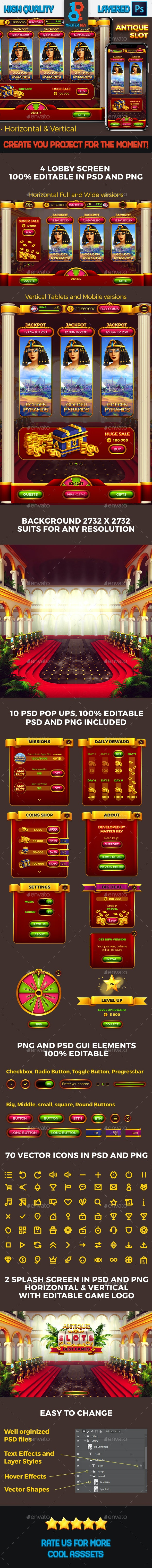 Antique Slot Lobby Game - Game Kits Game Assets