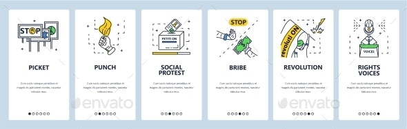 Social Protest, Revolution, Demonstration, Picket - Web Elements Vectors