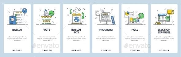 Election. Political Party Candidate Program, Poll - Web Elements Vectors
