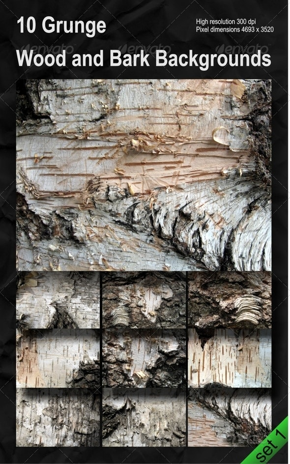 Set of 10 Grunge Wood and Bark Backgrounds Pack 1 - Wood Textures