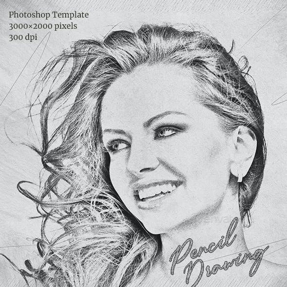 Pencil Drawing Photoshop Template
