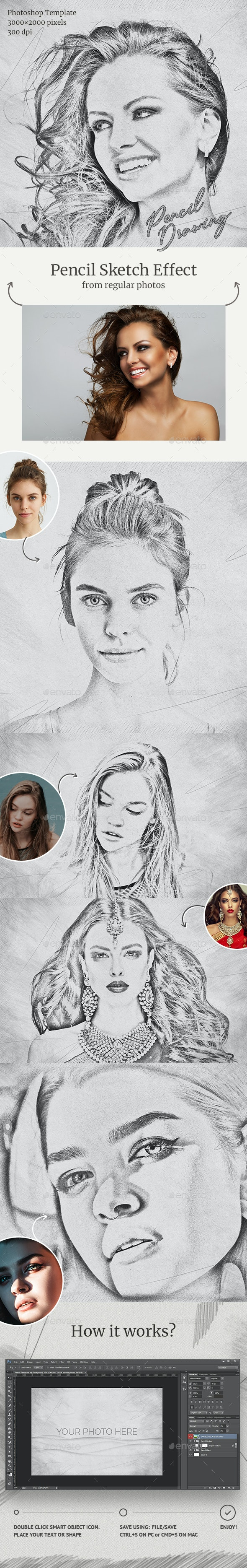 Pencil Drawing Photoshop Template - Artistic Photo Templates