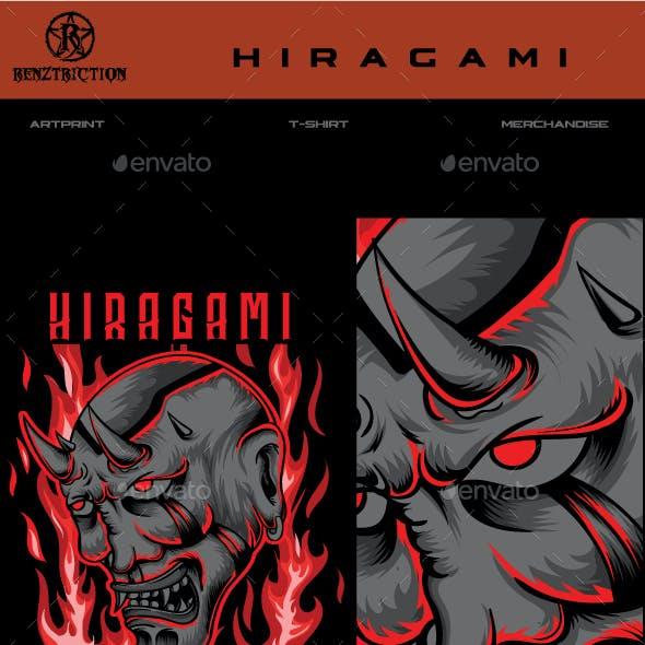 Hiragami Oni Mask T-shirt Design