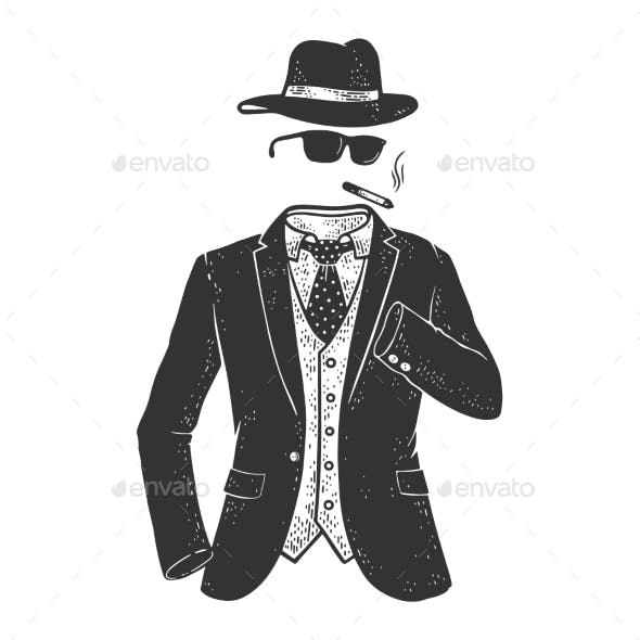 Invisible Man Sketch Vector Illustration