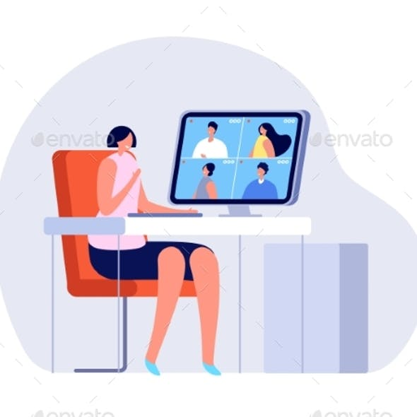 Video Call. Woman Close Computer, Online