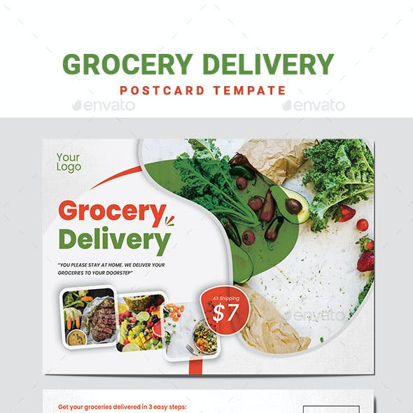 Grocery Delivery Postcard Template