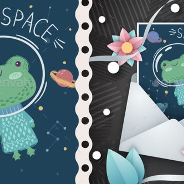 Space Frog - Idea for Greeting Card
