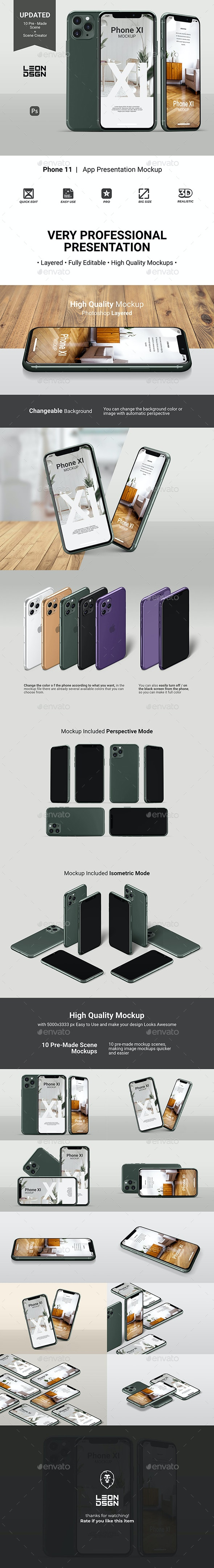 Phone 11 - App Presentation Mockup - Mobile Displays
