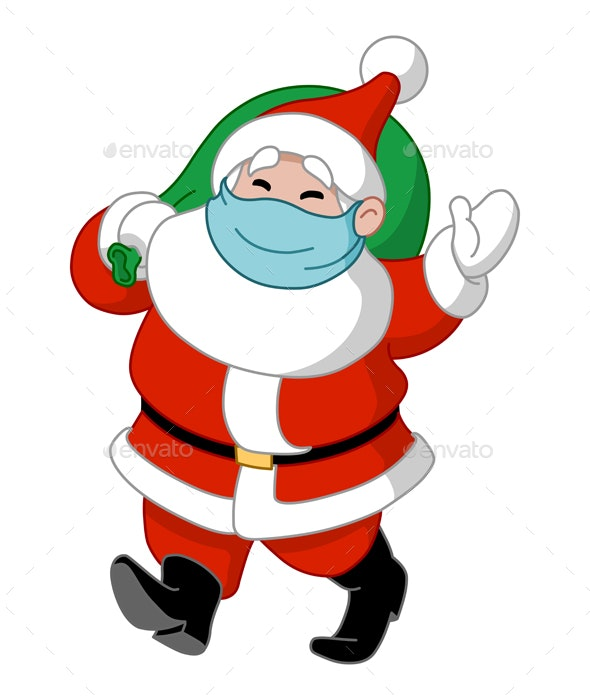 Santa with Medical Mask and Gift Sack - Christmas Seasons/Holidays