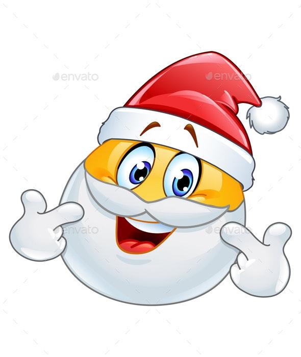 Pointing at Himself Santa Emoticon - Christmas Seasons/Holidays