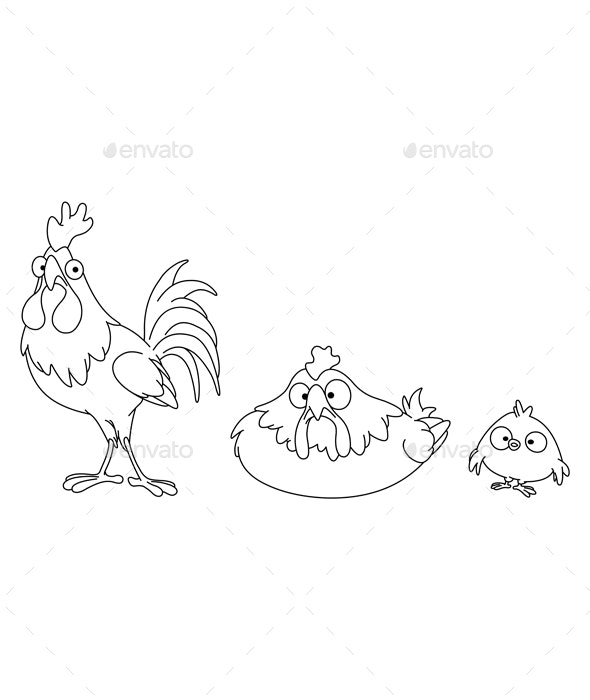 Outlined Chicken Family - Animals Characters