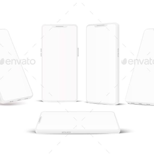 Vector White Frameless Smartphone Mockup Set