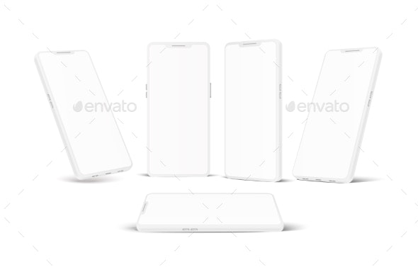 Vector White Frameless Smartphone Mockup Set - Man-made Objects Objects