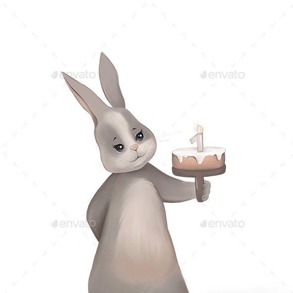 Cute Rabbit Holding Birthday Cake