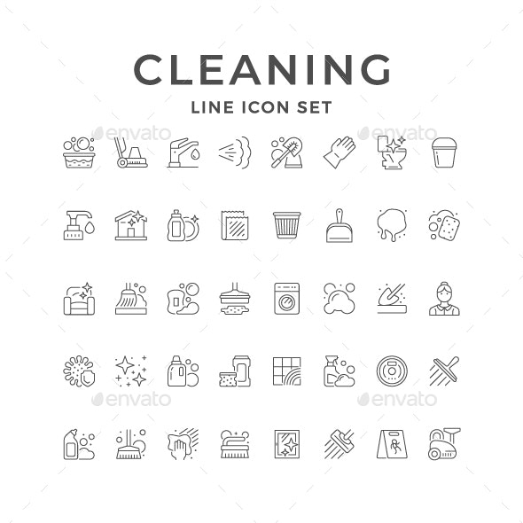 Set Line Icons of Cleaning - Man-made objects Objects