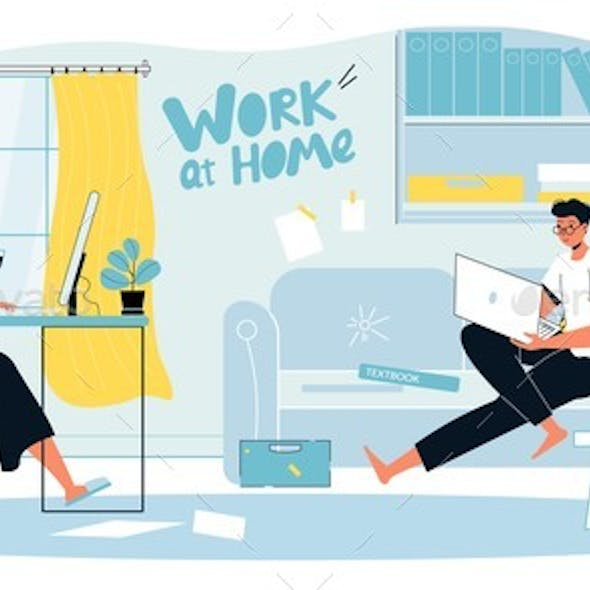 Family Couple Home Office Workplace Landing Page
