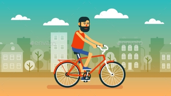 Bearded Positive Cyclist on a Red Bicycle Rides - Sports/Activity Conceptual