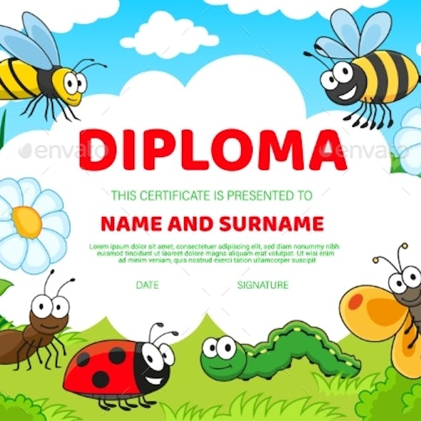 Kids Diploma Certificate with Cartoon Insects