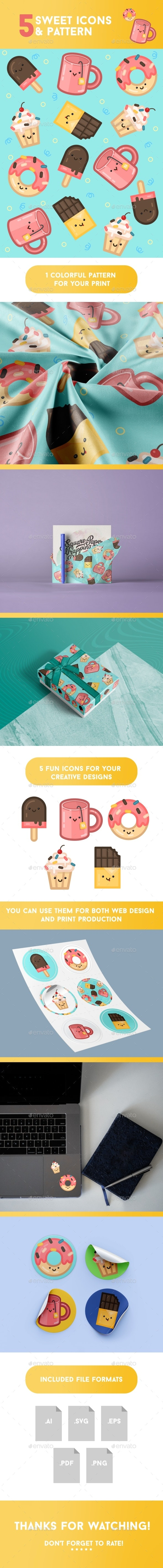 Sweet Icons and Pattern - Food Objects