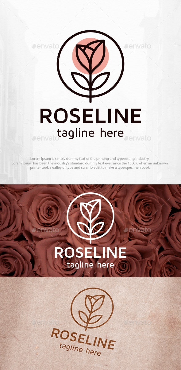 Rose Line Clean Logo Template - Nature Logo Templates