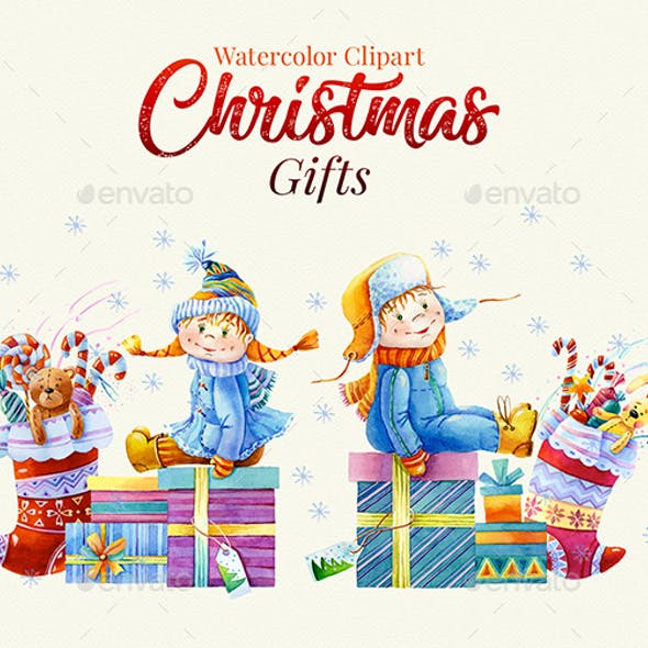 Christmas Gifts, Watercolor Clipart, 1200dpi