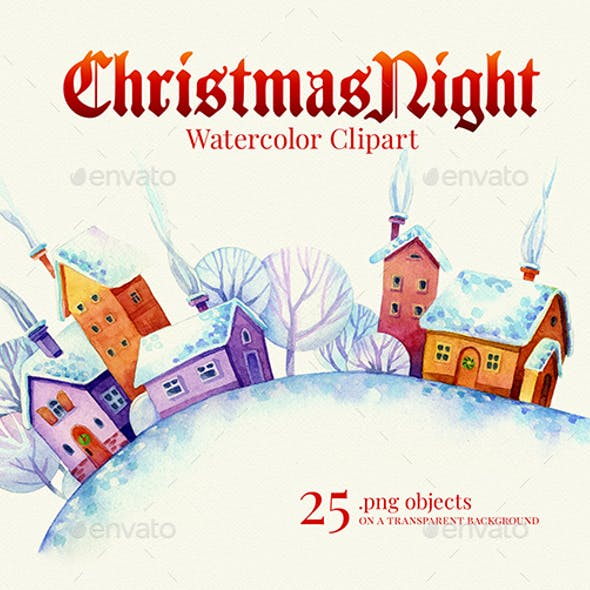 Christmas Night, Watercolor Clipart, 1200dpi