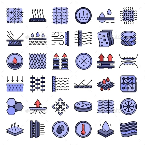 Fabric Feature Icons Vector Flat
